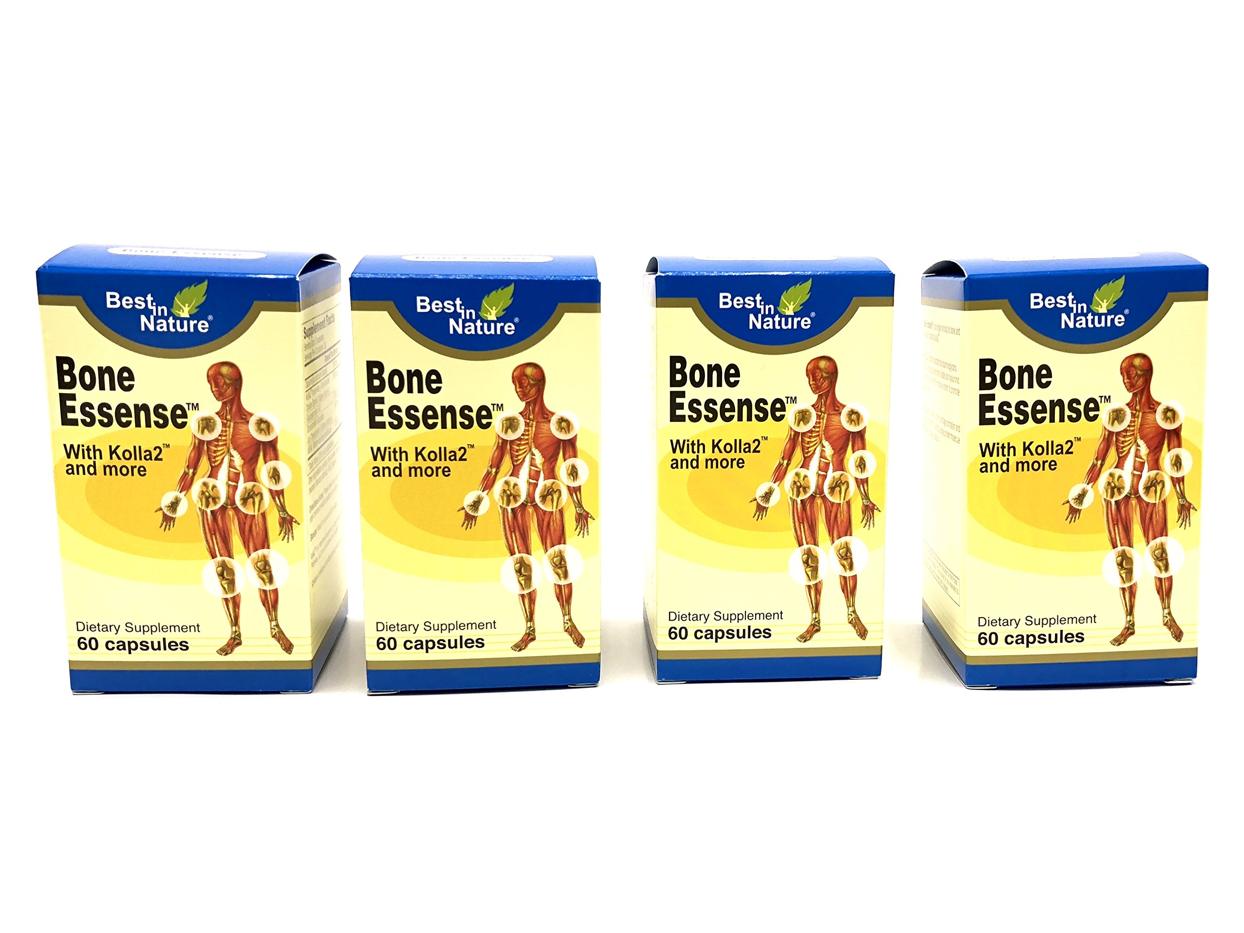 4 Bottles - Bone Essense with Kolla2 - Kolla2 300mg, Glucosamine, Chondrotin Sulphate, Calcium - 60 Capsules - Best in Nature