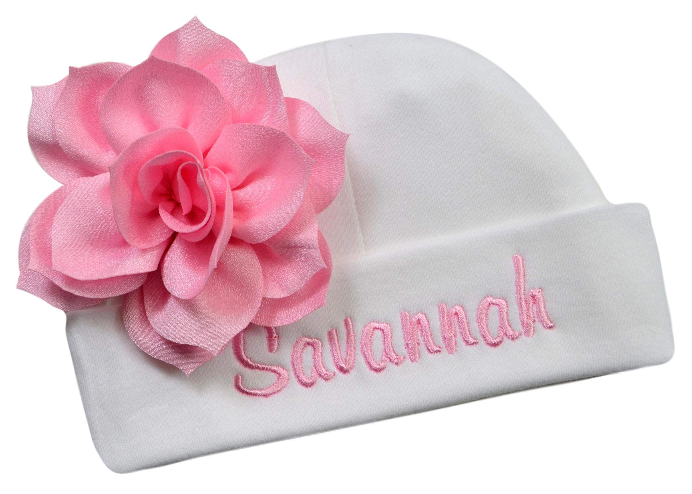 Personalized Embroidered Baby Girl Hat with Lotus Flower Your Custom Name (White Hat/Light Pink Flower)