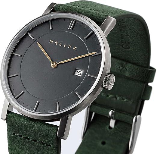 Meller Unisex Nag bosque minimalista reloj con pantalla analógica y correa de piel gris: Amazon.es: Relojes