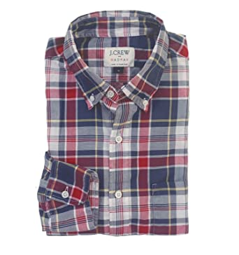 2ba4a69192f8e4 J.Crew Factory Men's Slim Fit Plaid Madras Shirt at Amazon Men's Clothing  store:
