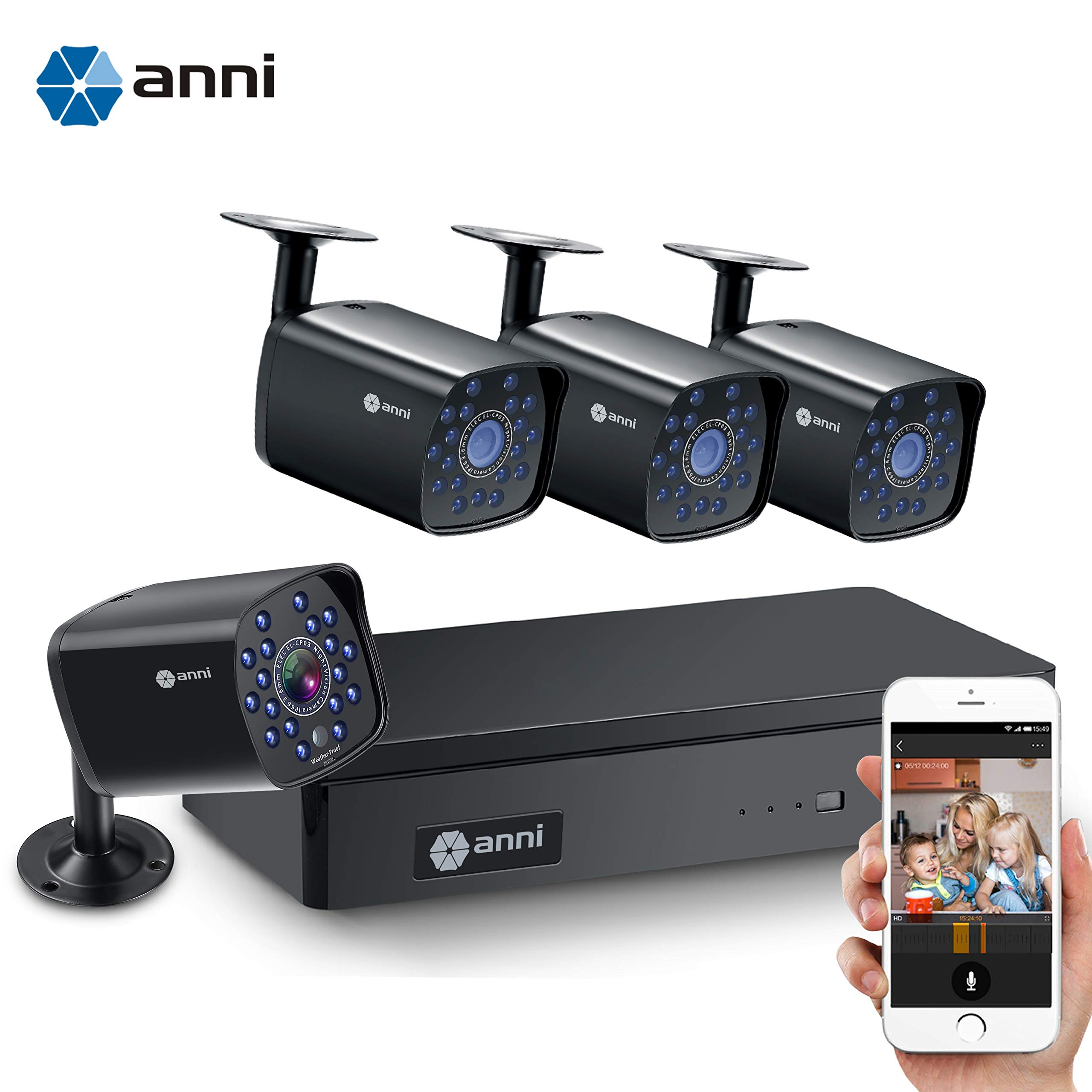 4 Channel H.264+Home Security Cameras System Wired, 4pcs HD 1080N 1.0MP Surveillance Bullet Cameras with CCTV DVR Video Recorder, IP65 Weatherproof for Indoor Outdoor use, Motion Alert Remote Access by anni