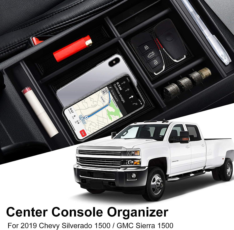 Salusy Center Console Organizer Storage Box Accessories Compatible for 2019 Chevy Silverado 1500// GMC Sierra 1500 2019 GM Vehicles Accessories