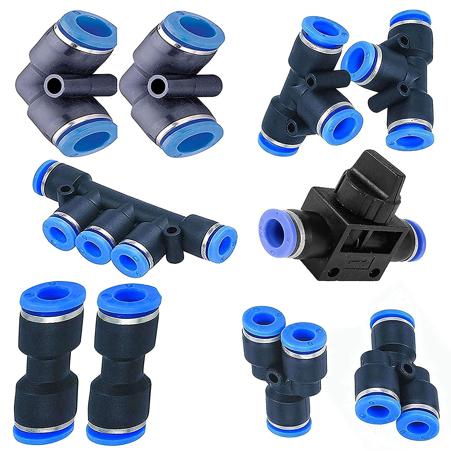 Utah Pneumatic 6mm od to 6mm Push To Connect Fittings pneumatic fittings  kit 2 Spliters+2 elbows+2 tee+2 Straight+1 Manifold+ Hand Valves Ultimate