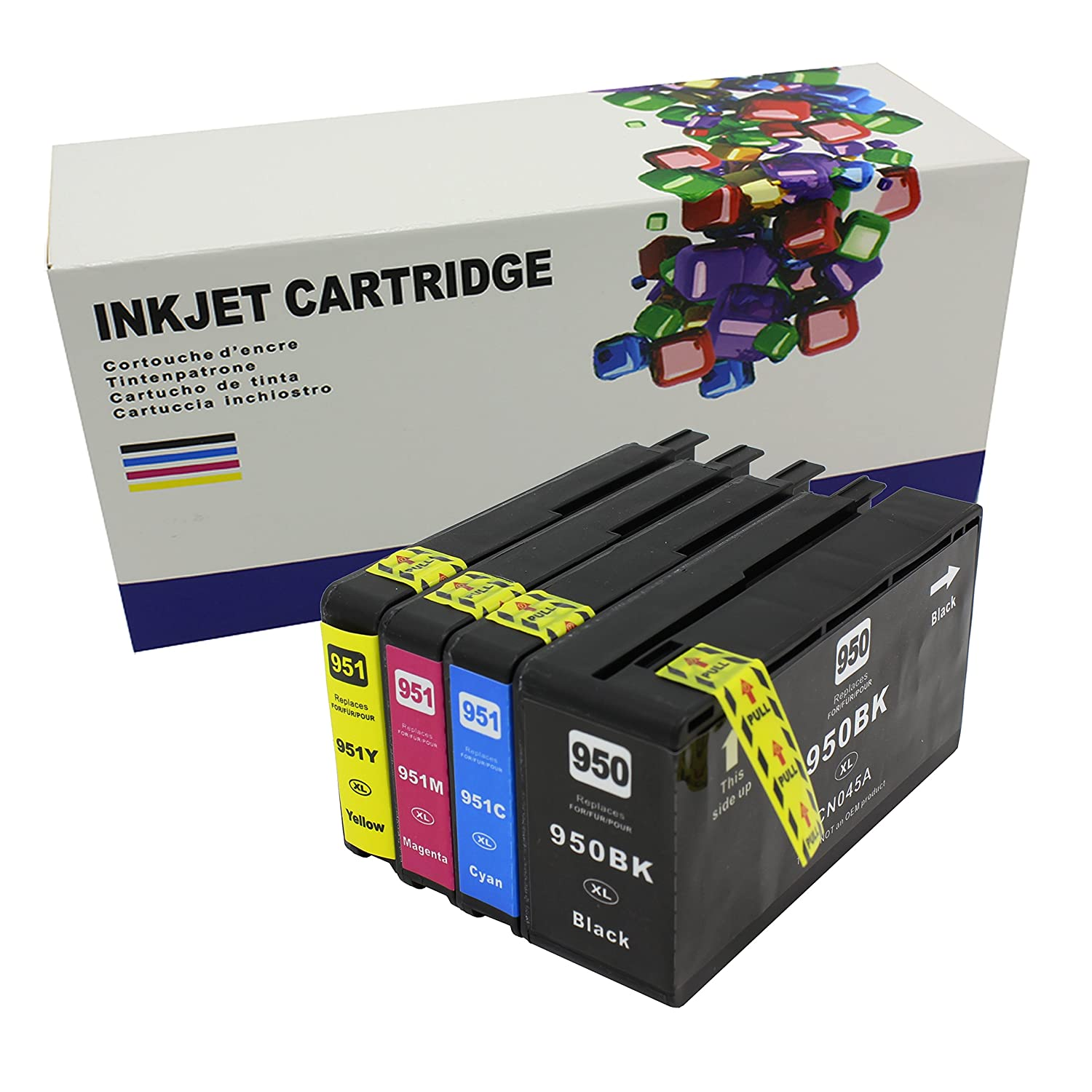 Generic 950xl Black And 951 Tri Color Cyan Magenta Tinta Catridge Hp 950 Xl Original Yellow Combo Saver 4 Cartridges In One Pack For Officejet Pro 8100 8600 251 276