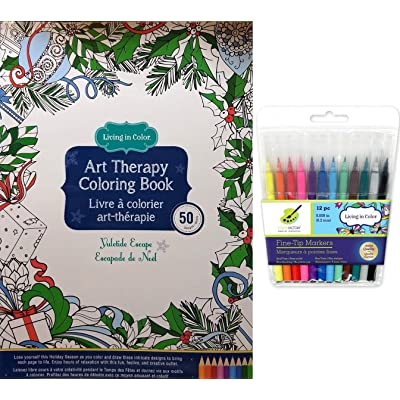 Yuletide Escape Christmas Coloring Book and 12 Fine Tip Markers Gift Set for Children Teens and Adults: Toys & Games