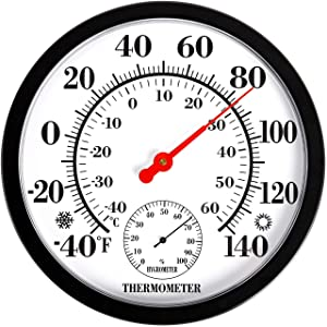 """MIKSUS 10"""" Premium Large Wall Thermometer Hygrometer Indoor Outdoor (Upgraded Accuracy and Design)"""