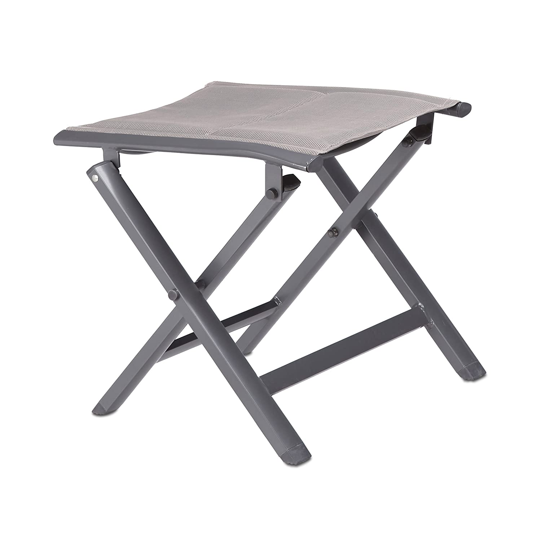 Relaxdays Aluminium Folding Stool, Padded for the Garden, Camping, Foldable, HxWxD: 41 x 48 x 41 cm, Grey 10020935_127
