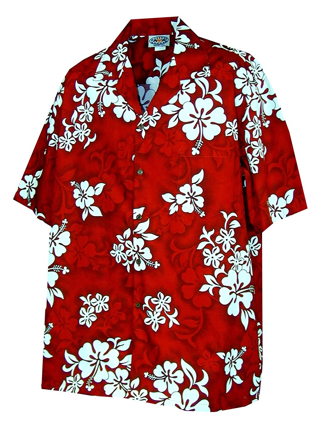 Pacific Legend Mens Shadow White Hibiscus Shirt