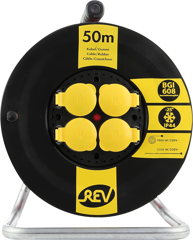 REV Ritter BGI608 pl/ástico, apto para obras, IP44, 25 m Carrete alargador de cable color negro y amarillo