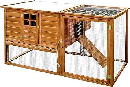 Pawhut Gallinero Exterior Madera Integrado Run Limpieza Bandeja Casa para Gallinas Jaula para Animales Pequeños Pollo 168x110.5x101.5cm