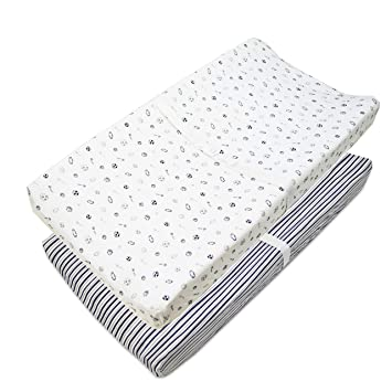 Soft Breathable American Baby Company Printed 100/% Natural Cotton Jersey Knit Fitted Contoured Changing Table Pad Cover Aqua Whale for Boys and Girls
