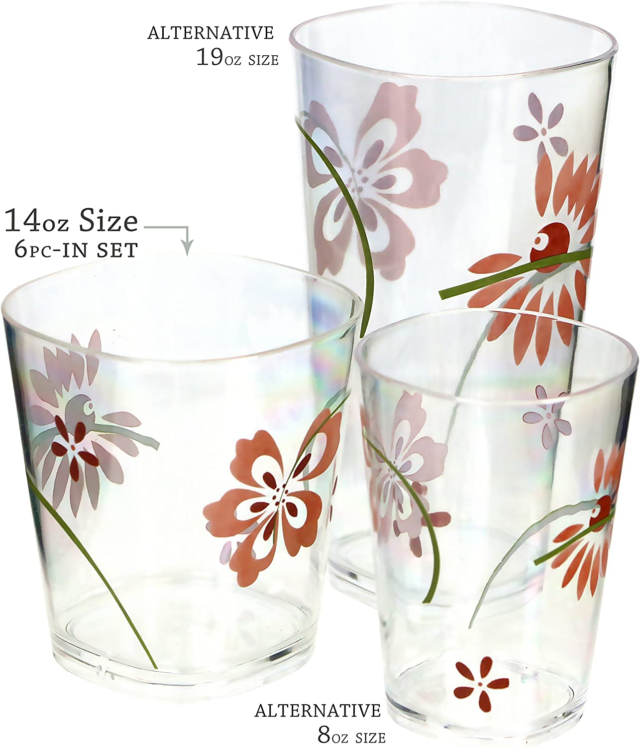 Corelle Coordinates Pretty Pink 14-Ounce Acrylic Square Glasses Set of 6