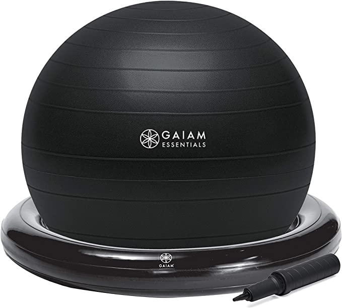 60CM Naixin Ball Chair Stability Ball with Inflatable Stability Base /& Resistance Bands Exercise Yoga Ball with Base for Home Gym Pregnancy Office Desk