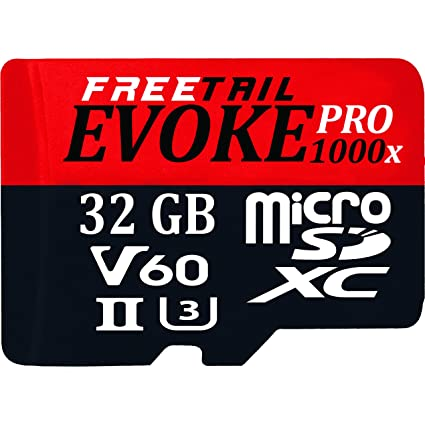 FreeTail Evoke Pro 1000x 64GB Micro SDXC UHS-II/U3 Card, Up to 240 MB/s v60 (FTUD064A10) Made for use in DJI, GOPRO, and Other Action Devices