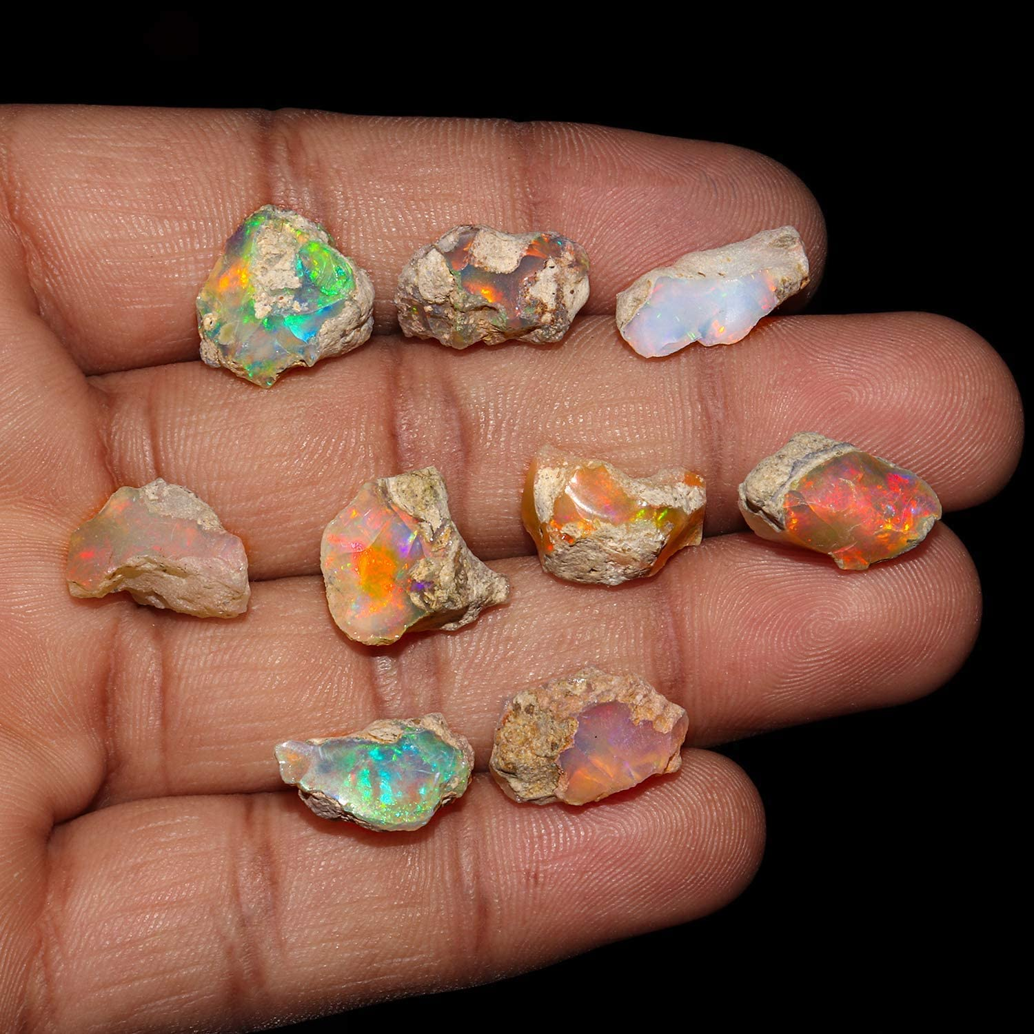 14 Cts Natural Rare Ethiopian Opal Smooth Multi Fire Ethiopian Opal 5 Pisces Lot Fire Opal Stone Jewelry Making Craft Supplies R23702