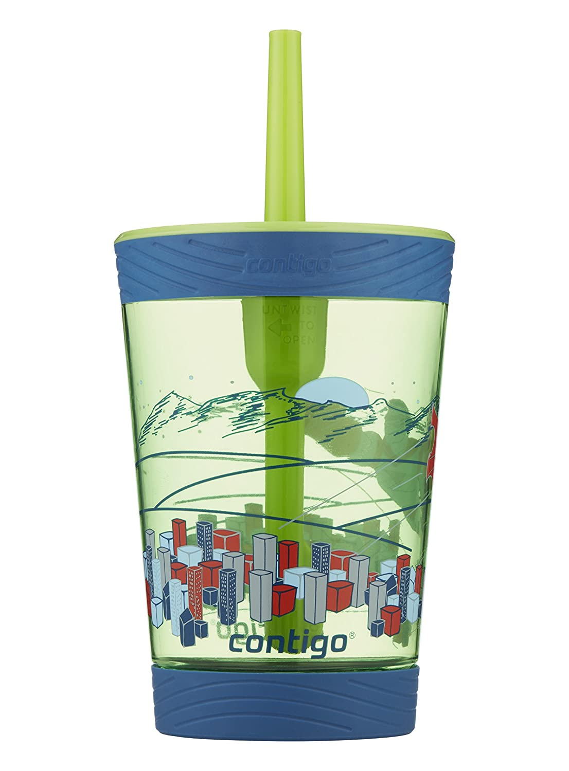 Contigo Spill-Proof Kids Tritan Straw Tumbler, 14 oz, Granny Smith with Flying Hero 2002728