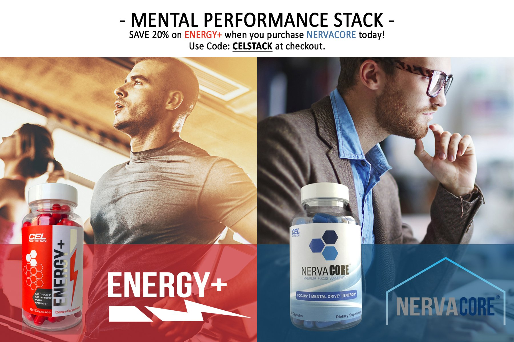 Energy Plus: Caffeine Pills 150mg & L-Theanine 200mg | Pure Focus & Energy Formula for Improving Concentration, Attention, Mood, and Cognition | All Natural Nootropic Tablets | 60 Capsules & Servings