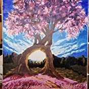 Purple Exotic Trees Blue Sky Millennium love Kids LINEN Canvas CaptainCrafts New Paint by Numbers 16x20 for Adults Frameless