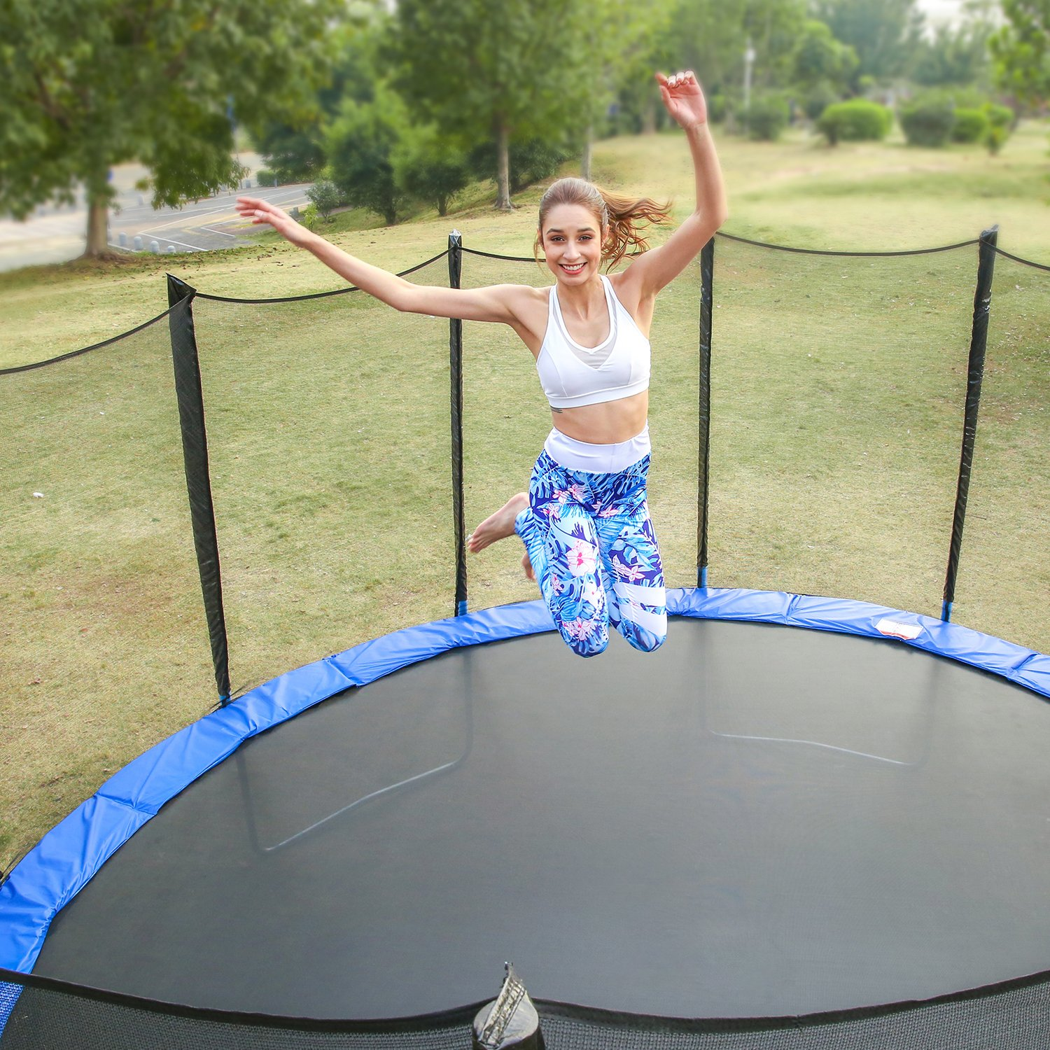 Ziema 12ft Outdoor Kids Trampolines with Enclosure Net US Stock