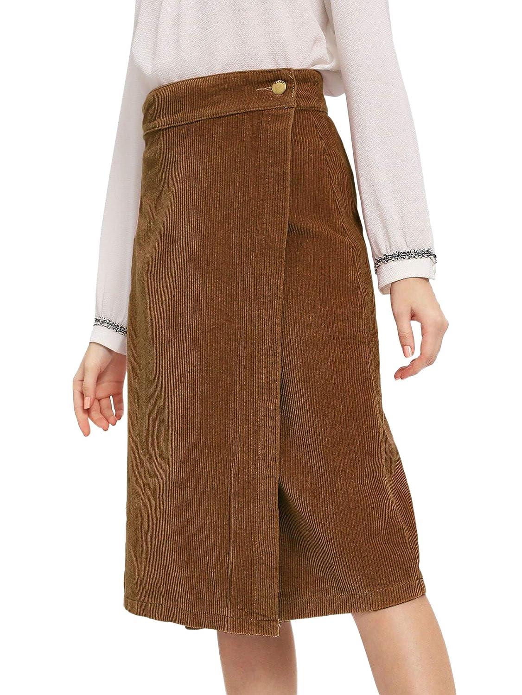 12886d0aa Verdusa Women's Elegant Workwear Wrap Corduroy Sheath Midi Skirt at Amazon  Women's Clothing store: