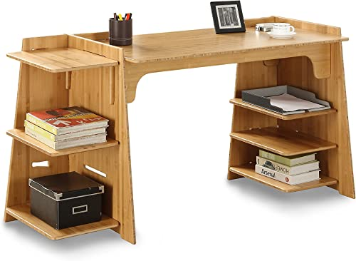 Legar Furniture Configurable Writing Office Desk, Home Computer Desk, Amber Bamboo