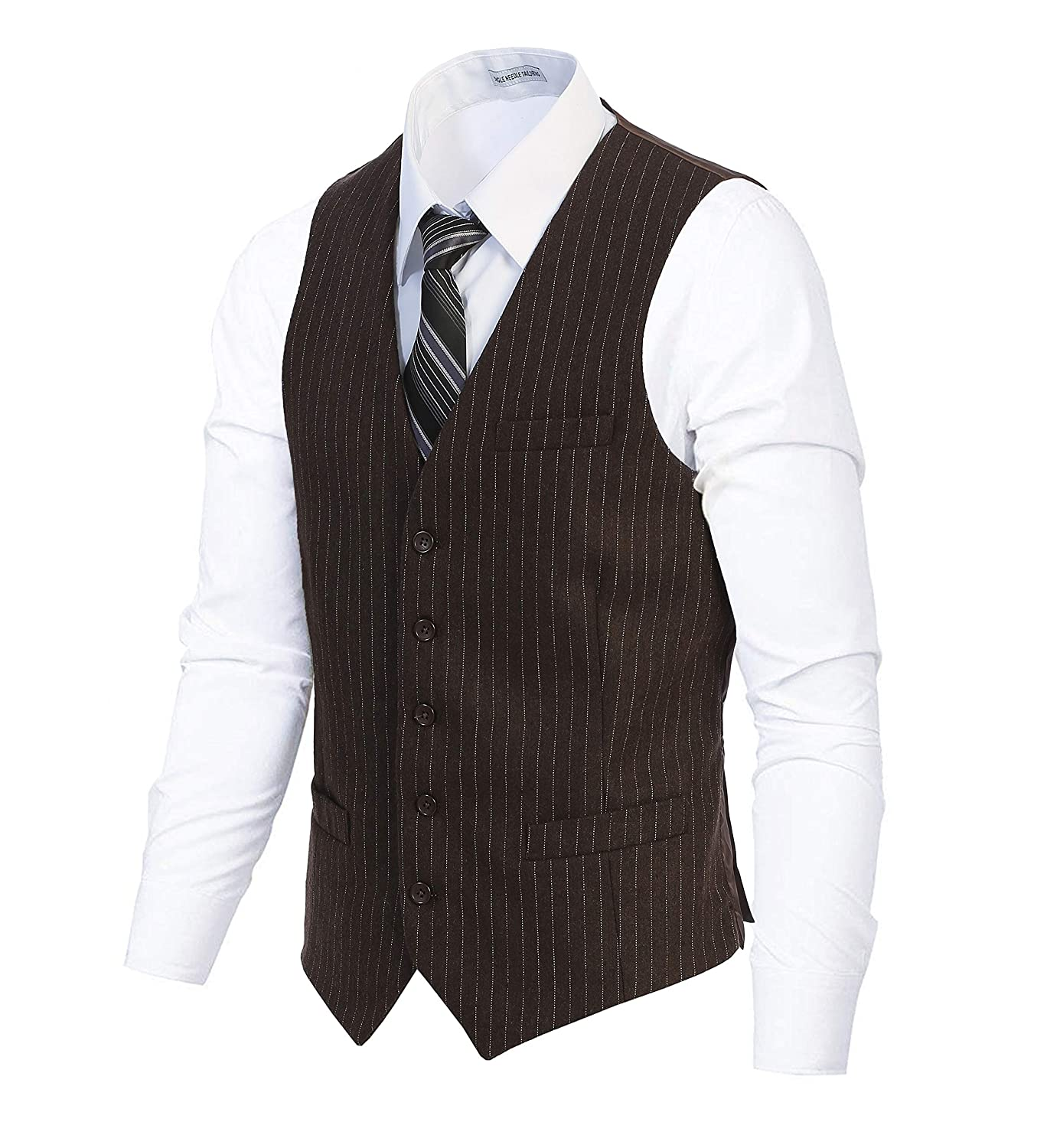 Gioberti Mens 5 Button Formal Wool Blend Tweed Pin Stripe Vest