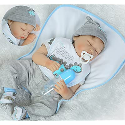 Sleeping Reborn Baby Dolls Boy 22inch Soft Vinyl Silicone Doll Realistic Real Baby Doll My Dino Outfit 55cm Baby Cute Toys Gift Set for Ages 3+ : Baby