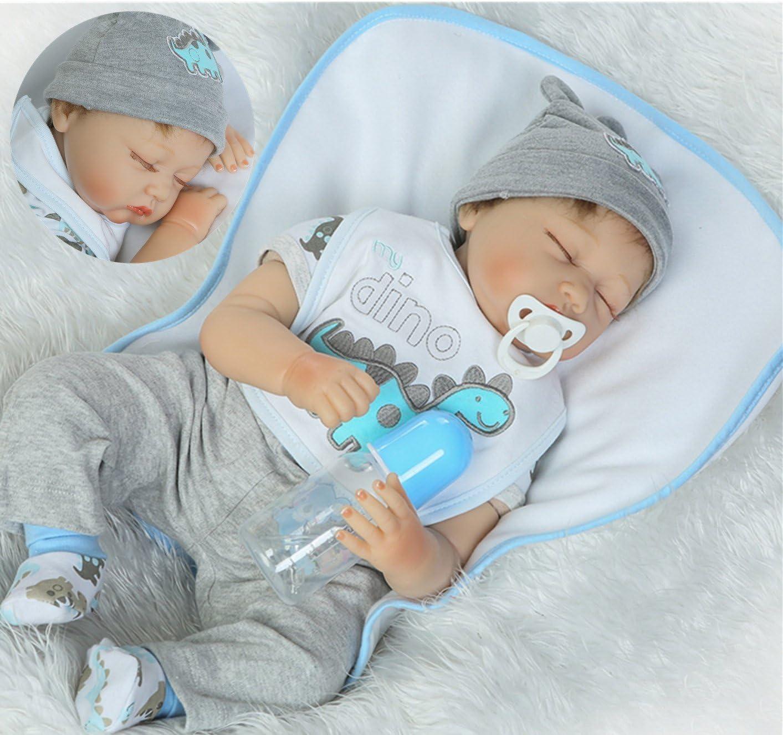 Reborn Baby Doll Full Body Silicone Vinyl Sleeping Boy Soft Lifelike new 22-Inch
