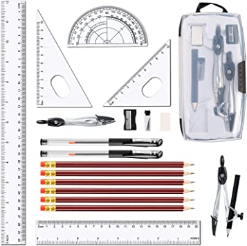 2 x 11-Piece BAZIC Mathrmatics Geometry Tool Set Protractor Compas Ruler Pencil