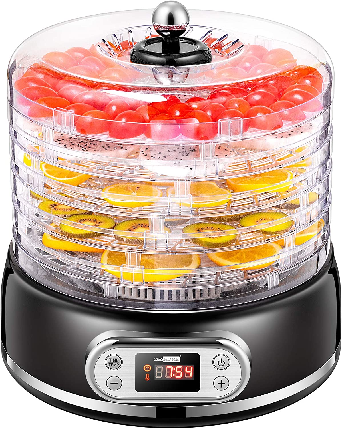 VIVOHOME Electric 400W 5 Trays Round Food Dehydrator Machine with Digital Timer and Temperature Control for Fruit Vegetable Meat Beef Jerky Maker BPA Free Black