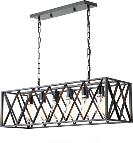 6-Light Industrial Kitchen Island Lighting with E26 Sockets, Rectangular Vintage Pendant Light, Farmhouse Hanging Ceiling Light Fixture 360W Max No Bulb Included Black XX 6