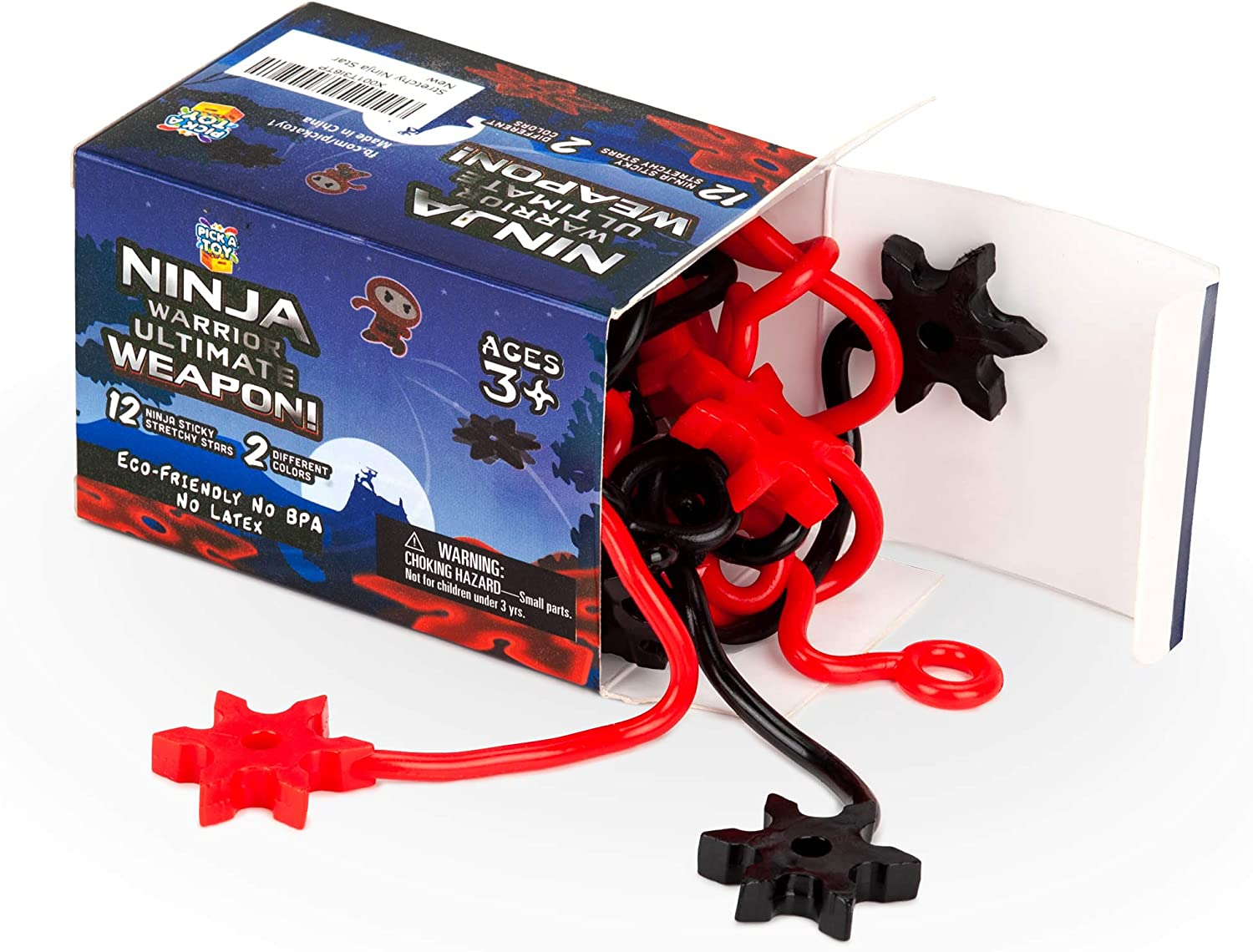 Pick A Toy Ninja Star Sticky Toys [12-Pieces] Elastic Ninja Toys for Boys & Girls | Great Birthday & Party Favors Idea | Black & Red Colors | Eco-Friendly, BPA-Free Materials