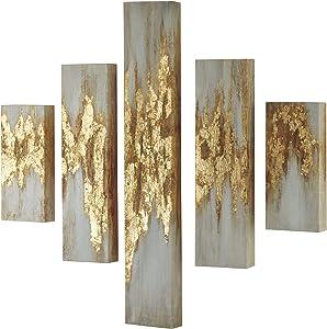 Ashley Furniture Signature Design - Devlan Wall Art - Set of Five - Contemporary Glam - Gold Finish/White