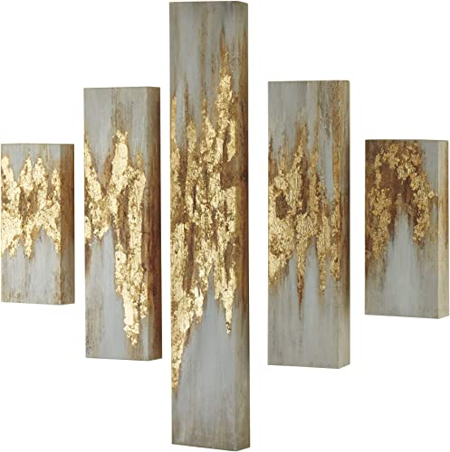 Signature Design by Ashley – Devlan Wall Art – Set of Five – Contemporary Glam – Gold Finish White