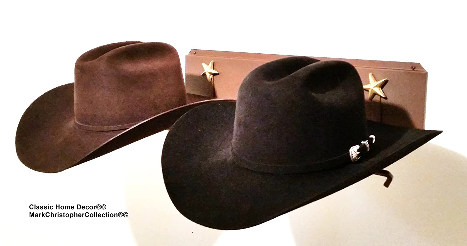 Mark Christopher Collection American Made Cowboy Hat Holder Brim Up with Gold Stars 6622 Classic Home Decor 6622 CT