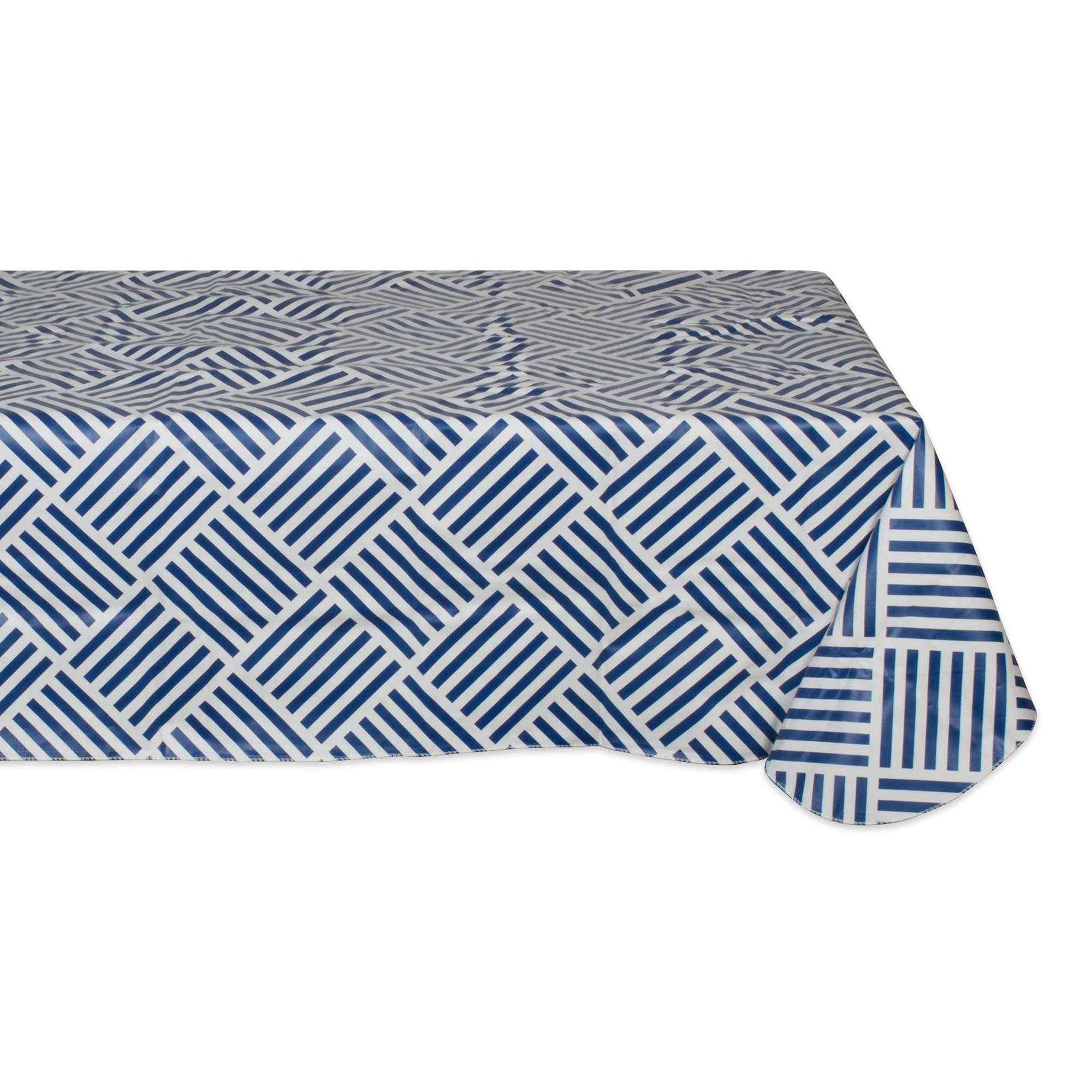 Waterproof Spill Proof Vinyl Geometric Grid Tablecloth, 60x102'', Perfect for Spring, Summer, Indoor, Outdoor Picnics & Potlucks Party Party or Everyday Use-Navy
