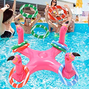 Voiiake Inflatable Pool Ring Toss, Pool Toys for Kids with 6pcs Rings, Swimming Pool Games for Adults and Family