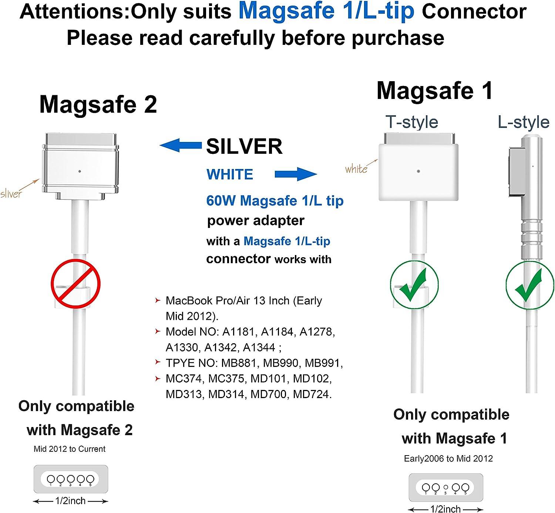 - A1181 etc. -A1278 Prima di met/à 2012 Dalla fine del 2009 Compatibile con Mac 60W Magnetico Caricatore Sostituzione Adattatore Per Mac Pro 13 Pollici Mac 13 con Connettore a L Dopo