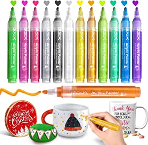 Paint Pens Acrylic Markers, ZSCM 12 Colors Paint Markers for Christmas Ornaments DIY Crafts, Metallic Art Marker, for Kids Adults Card Making, Rocks Painting, Wood Slices, Unfinished Wood, School Supplies