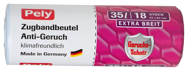 pely Zugbandbeutel Anti-Geruch, klimafreundlich, 35 Liter, extra breit, 48 x 75 cm, 18 Stück 18 Stück 8515