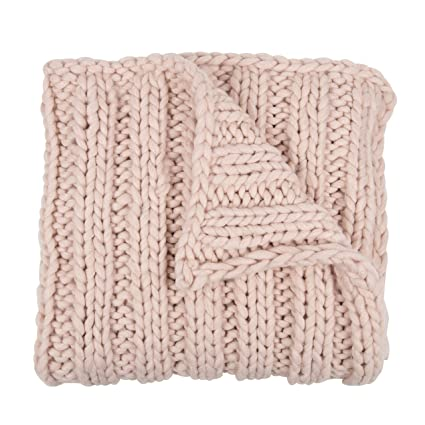ffbf61611d3 Amazon.com: Kate Laurel Chunky Knit Throw Blanket, Soft Pink: Home ...