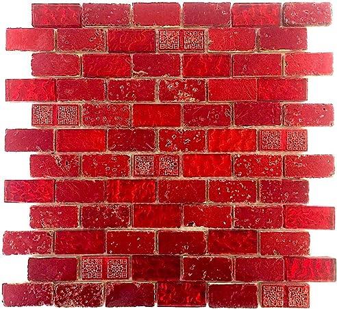 Carrelage Mosaique En Verre Et Pierre Metallic Brique Rouge Amazon Fr Bricolage