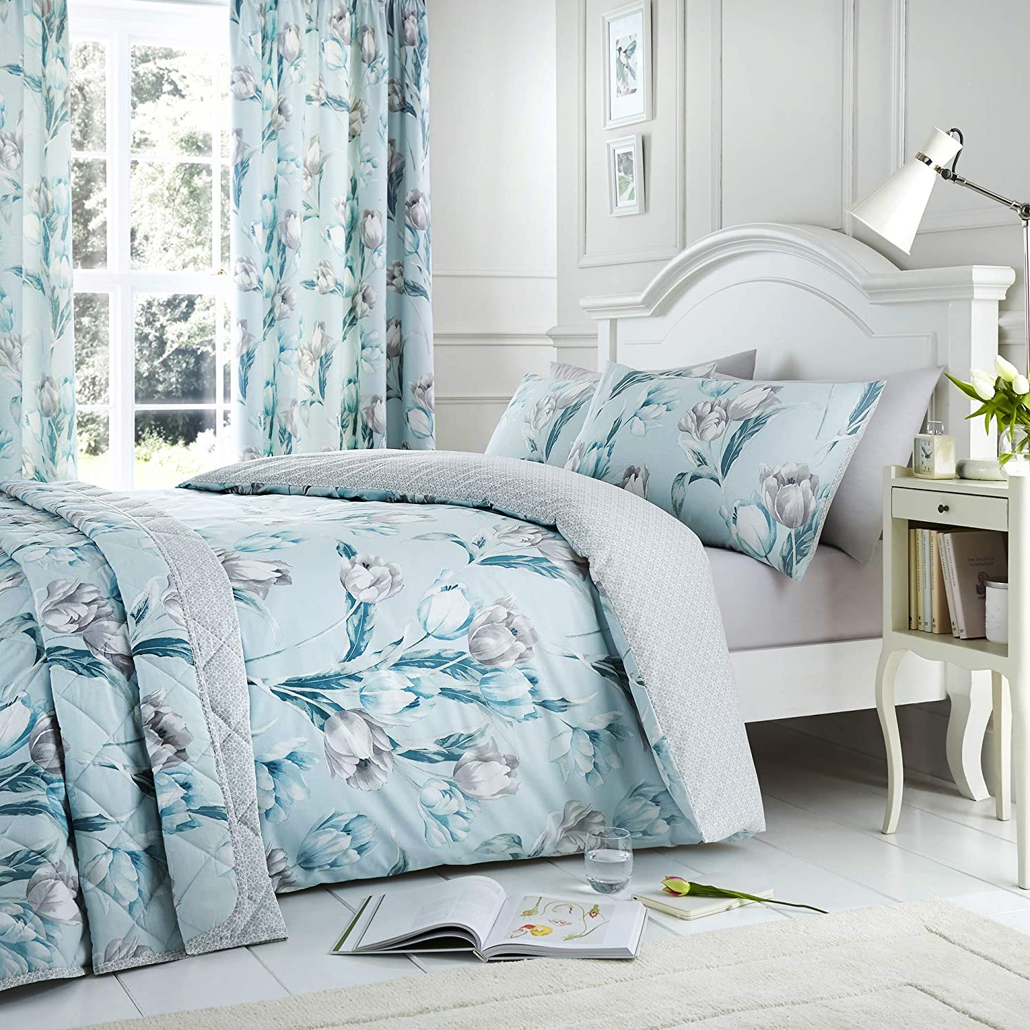 Grey Duvet Cover with Duck Egg