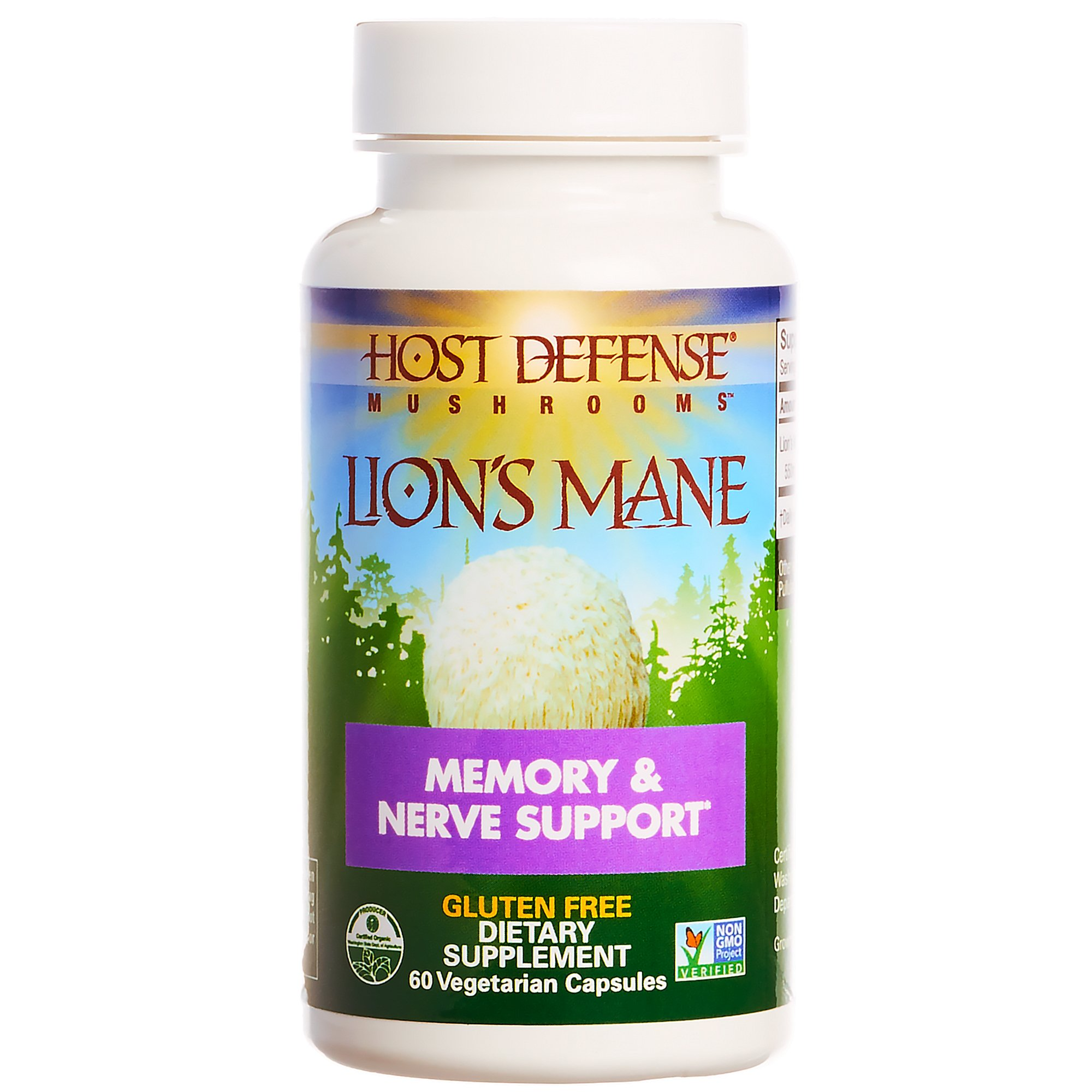 Host Defense - Lion's Mane Capsules, Mushroom Support for Memory and Nerves, 60 Count