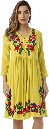 Riviera Sun Floral Embroidered 3/4 Sleeve Button Front Empire Waist Dress