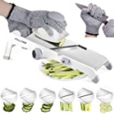 Mandolin Slicer,MILcea 3-in-1 Upgraded Stainless Steel Mandoline Slicer Adjustable Kitchen Food Vegetable Chopper Slicer Cutter for Fruits &Vegetables from PaperThin to 9mm(Safety Gloves Included)