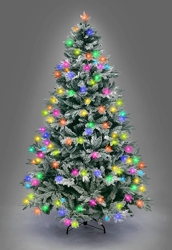 Glitzhome 9 ft. Pre-Lit Snow Flocked Artificial Spruce