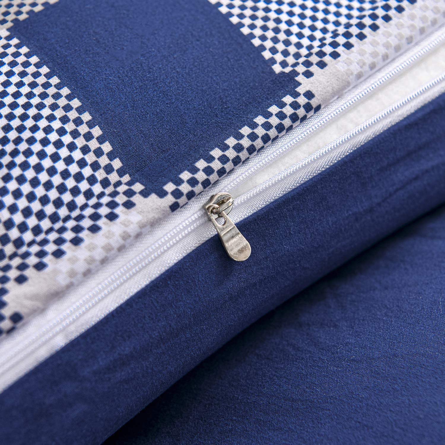 2Pcs,Blue Plaid,Twin softan Bedding Duvet Cover Set with Zipper Closure /& Corner Ties Soft and Breathable Washed Microfiber Grid Comforter Cover for All Seasons