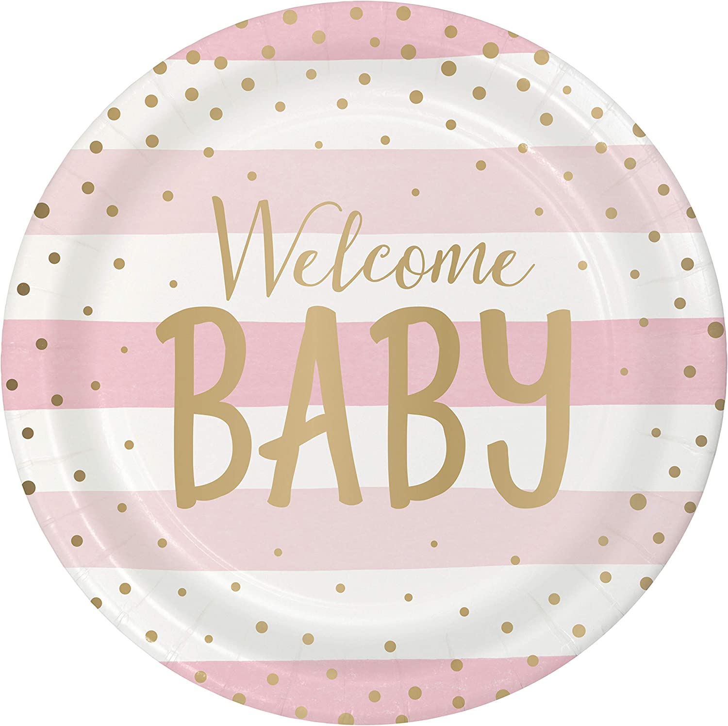 Pink and Gold Celebration Baby Shower Paper Plates, 24 ct