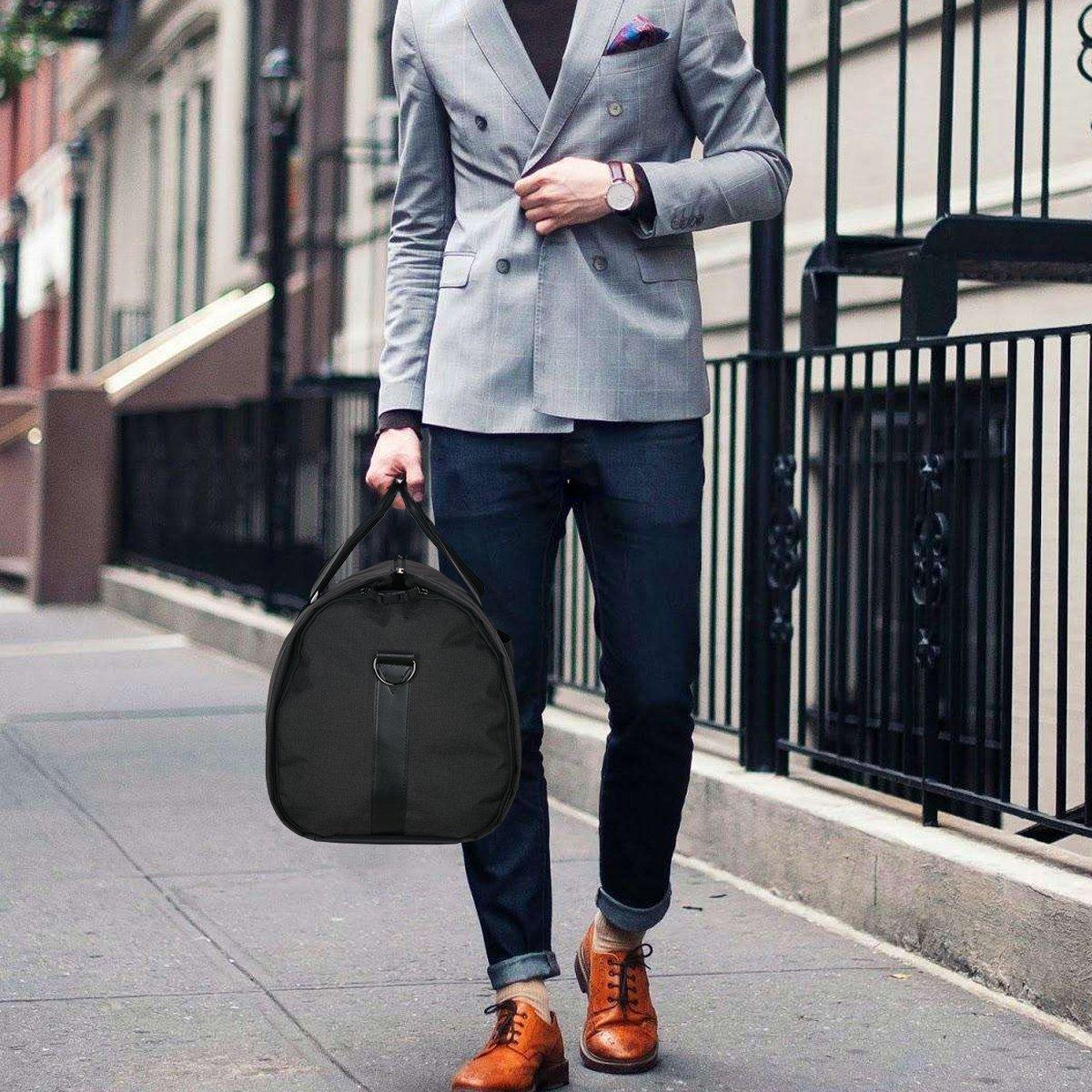 Carry-on Garment Bag Suit Travel Bag Duffel Bag Weekend Bag Flight Bag Gym Bag - Black by UNIQUEBELLA (Image #10)